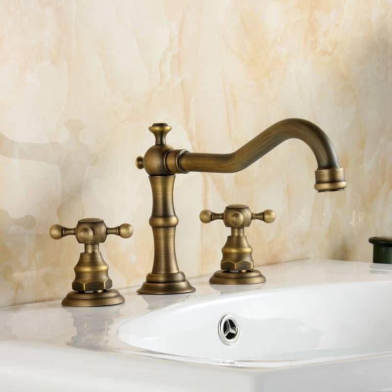 Photo of 3-Piece Faucet Sets Antique Brass Double Handle Bathtub Sink Sink Mixer Tap Taps