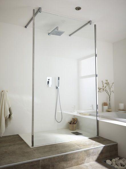 Paroi de douche à l'italienne ELISEE 3 profilé chromé, 120 cm ...