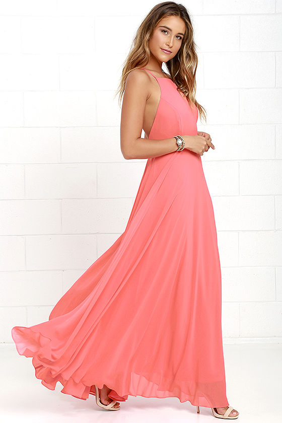 a819bd85565 Lulus Exclusive! The Mythical Kind of Love Coral Pink Maxi Dress is simply  irresistible in every single way! Lightweight Georgette forms a fitted  bodice ...