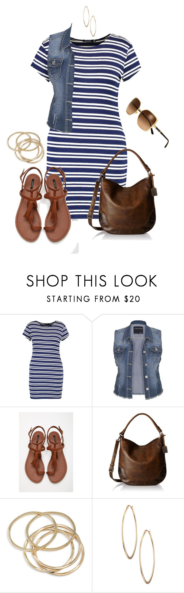 """""""Ootd: Stripey- plus size"""" by gchamama ❤ liked on Polyvore featuring Boohoo, maurices, Forever 21, Frye, ABS by Allen Schwartz, Lydell NYC and Tory Burch"""