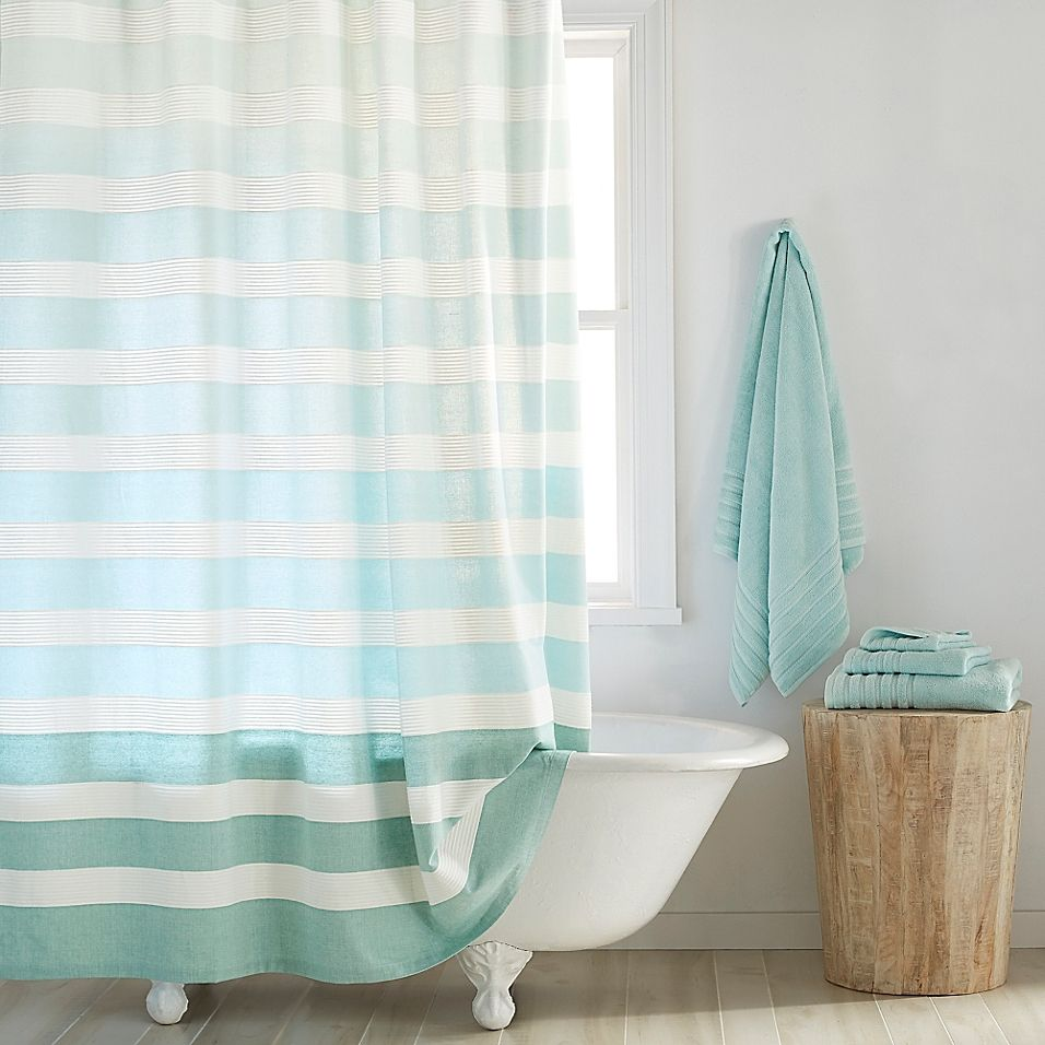 Dkny Highline 54 X 78 Stripe Shower Curtain In Sky Aqua