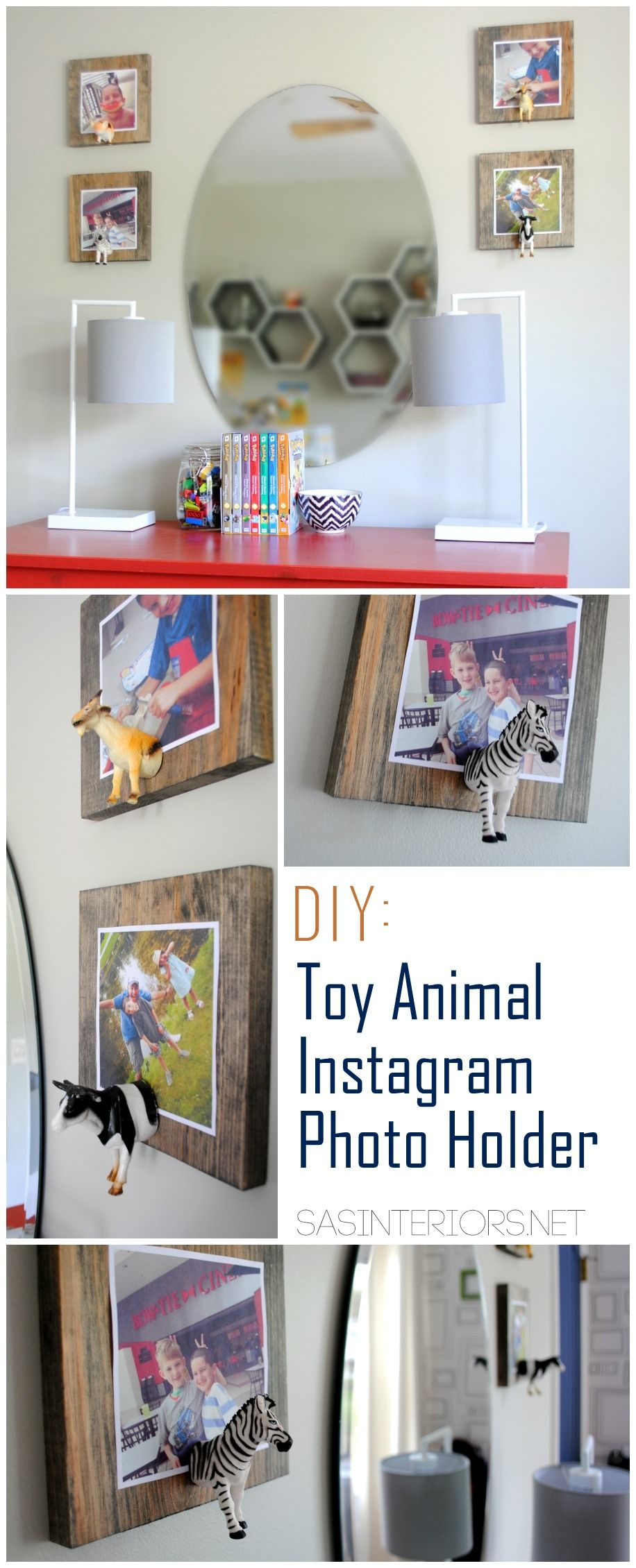 DIY: Toy Animal Instagram Photo Holder.  So cute & easy to make.  Perfect for a kids room or any eclectic space!  Full tutorial at www.sasinteriors.net
