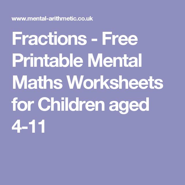 Fractions Free Printable Mental Maths Worksheets For Children Aged