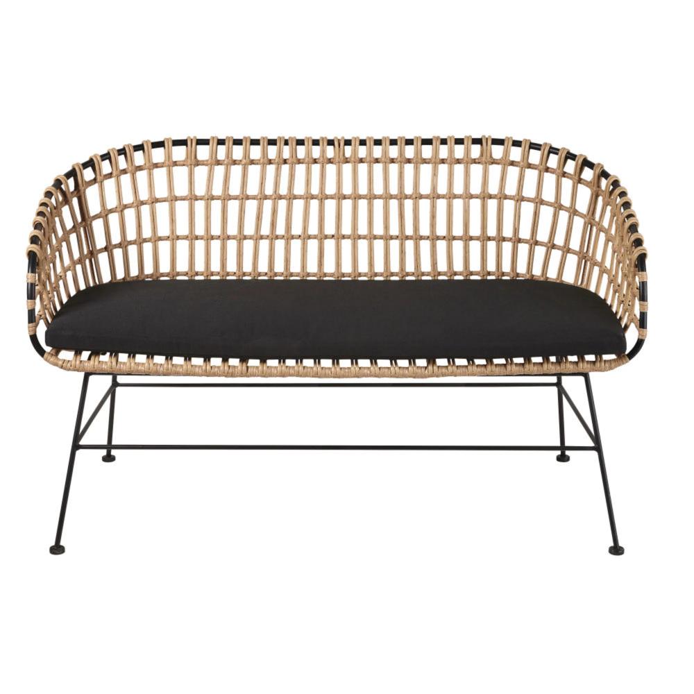 Cuscini Da Esterno Impermeabili divanetto da giardino in resina effetto rattan e tela nera