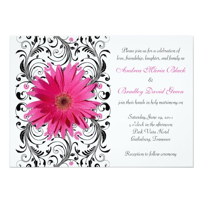 Elegant Floral Black Pink Daisy Wedding Invitation Zazzle Com With Images Daisy Wedding Invitations Floral Wedding Invitations Floral Wedding Stationery
