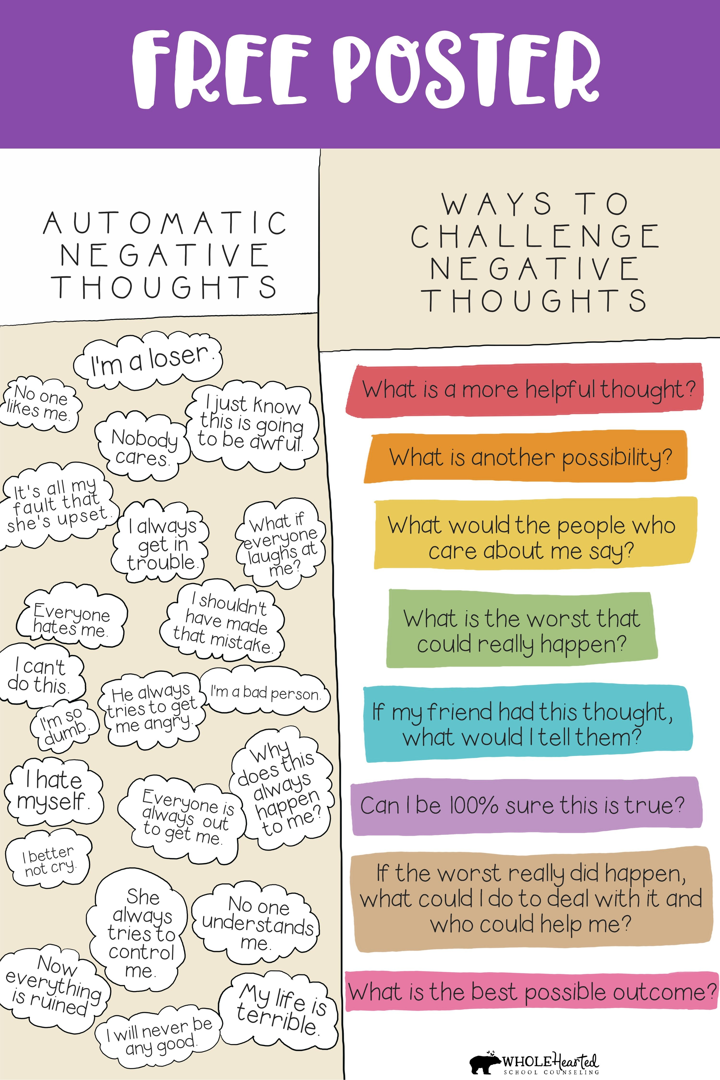 Challenge Automatic Negative Thoughts Cognitive Behavioral Therapy Free Poster In 2020 Cognitive Behavioral Therapy Negative Thoughts Behavioral Therapy
