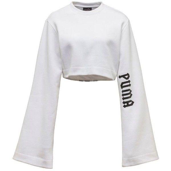 e869114f44a6 Fenty X Puma Women Long Kimono Sleeve Cotton Crop T-shirt ( 185) ❤ liked on  Polyvore featuring tops