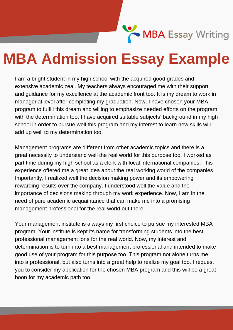 Mba Admission Essay Example Essay Examples Admissions Essay Essay Writing Help