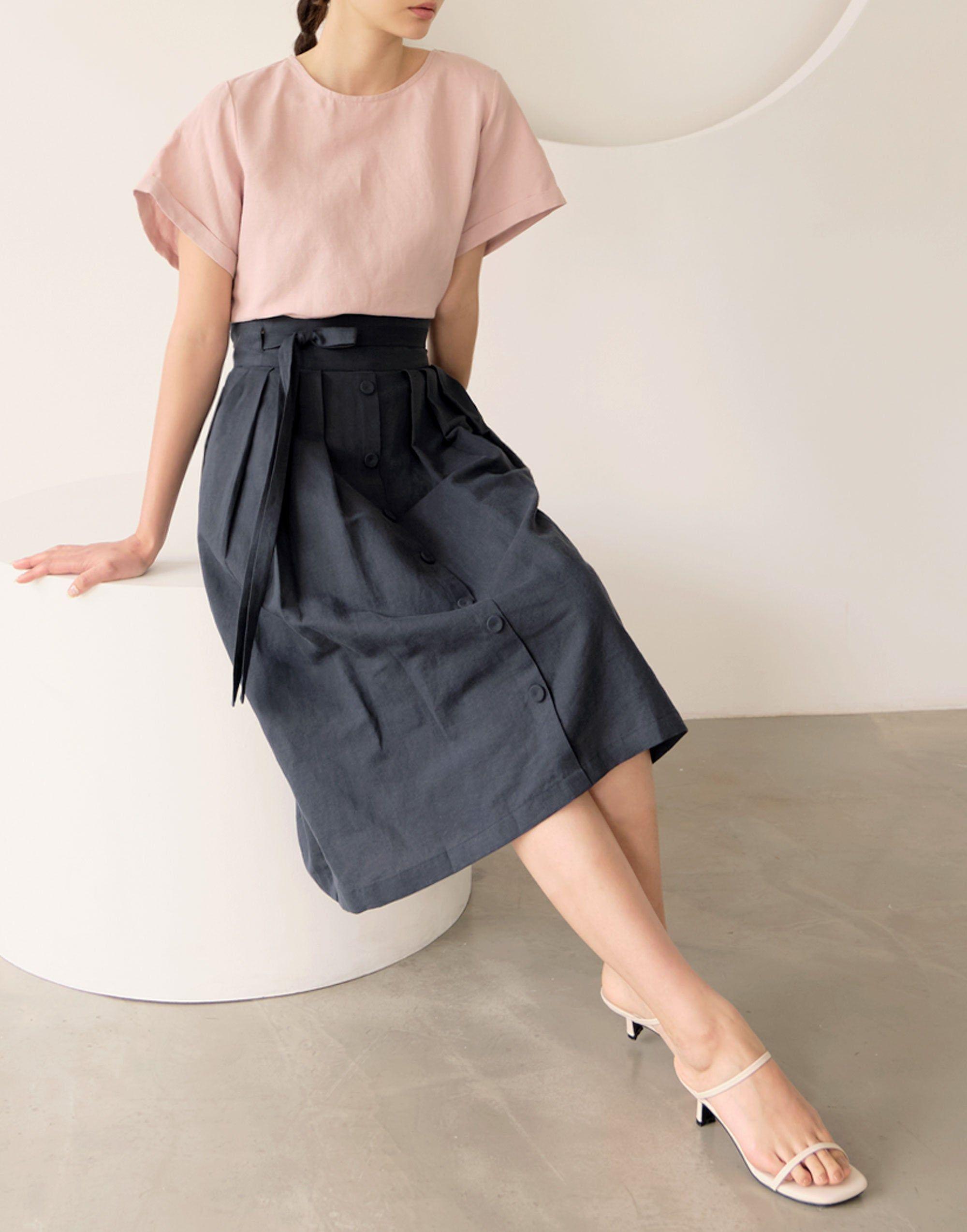 TETEROT SALON Women's Wrap Skirt Hanbok Korean Vintage Navyblue Party Long Skirt 도레미 네이비