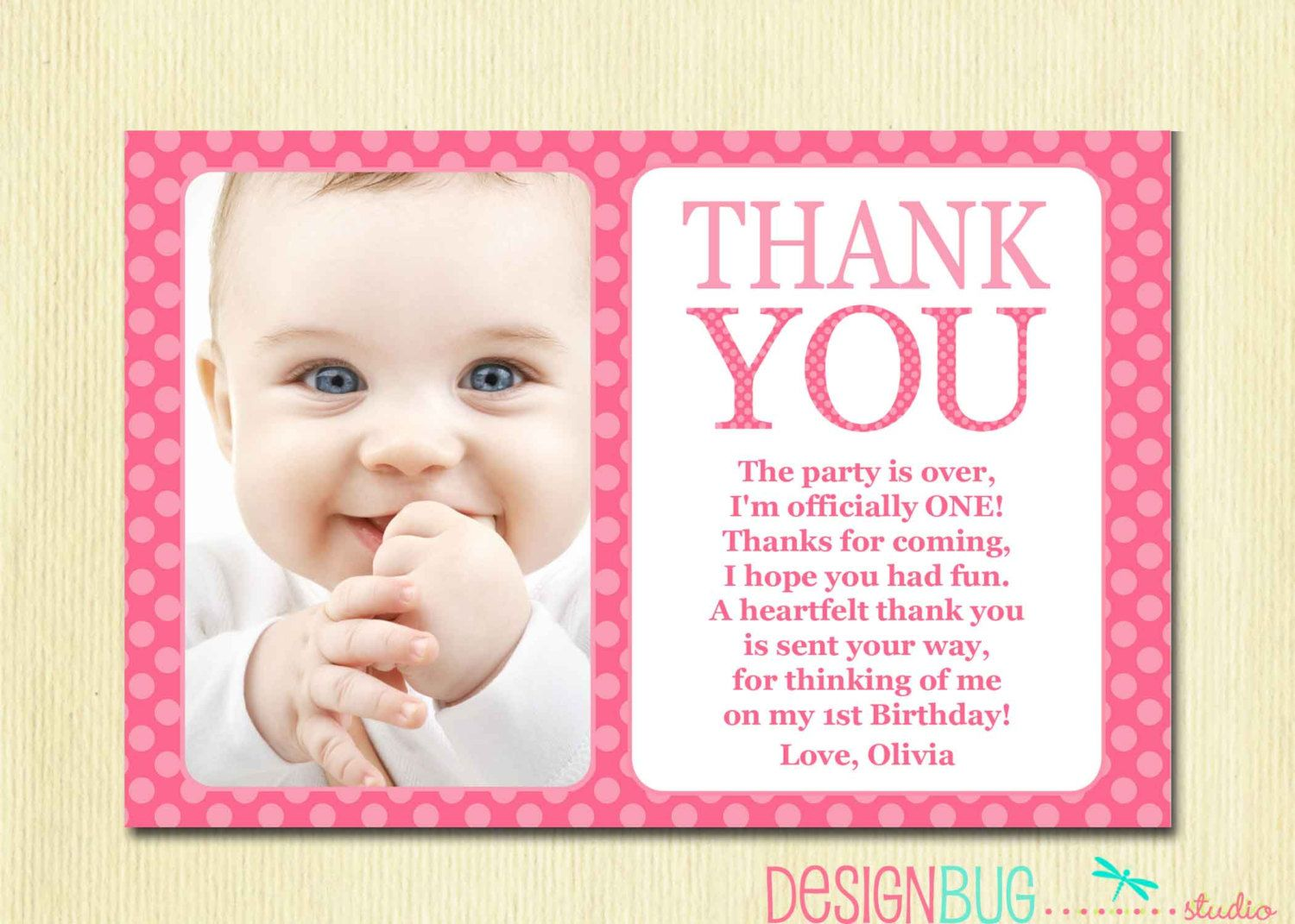 Thank You Card 1st Birthday First Birthday Girl Birthday Thank You ...