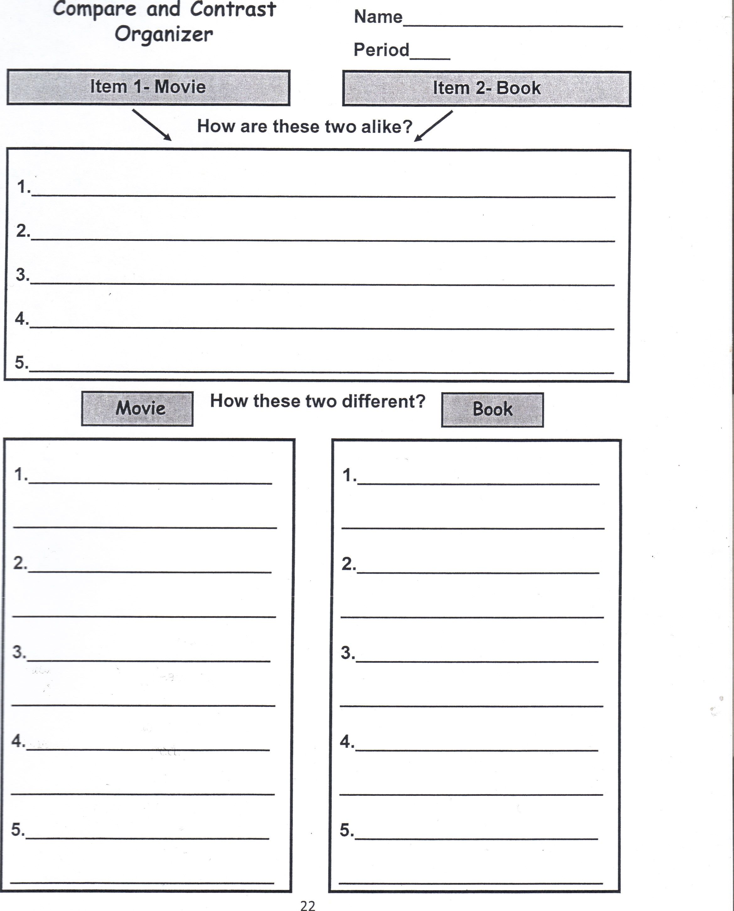 Book Jacket Graphic Organizer : Book movie compare contrast organizer my future