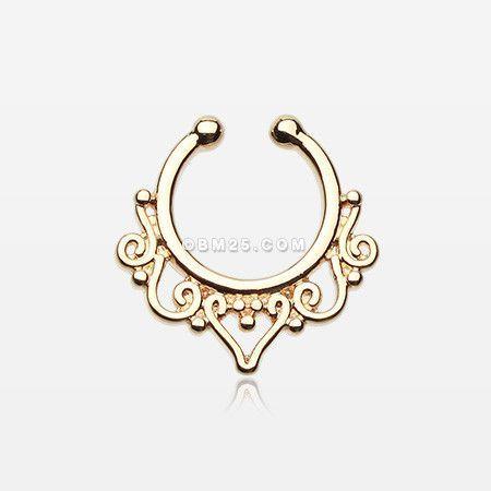 Golden Goddess Filigree Fake Septum Clip-On Ring