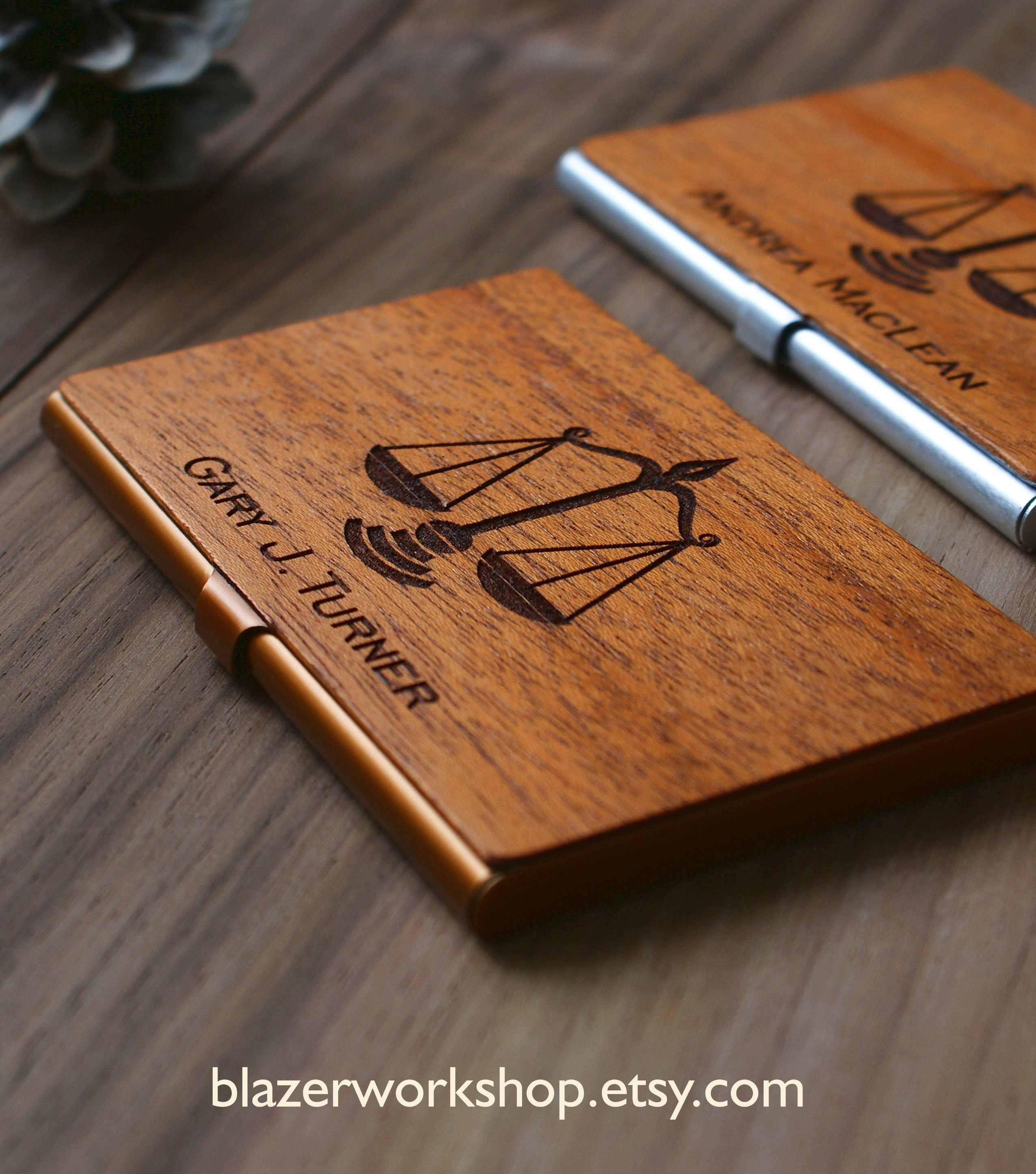 Judge Gift Lawyer Gift Attorney Wooden Business Card Holder Etsy Wooden Business Card Holder Wood Business Cards Wood Card