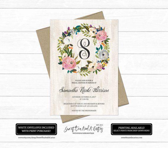 797a8a3460e8 Floral Monogram Bridal Shower Invitation Elegant Flower Wedding Shower  Invites Personalized Rustic Country Digital File or