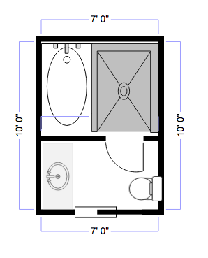 Layout For 7x10 Master Bath Small Freestanding Soaking Tub Is Placed Inside The Shower Small Bathroom Layout Bathroom Remodel Master Small Bathroom Remodel