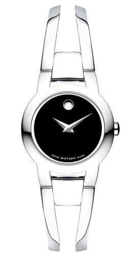 a621363a7dce2 Movado Amorosa Swiss Black Dial Silver Tone Steel Bracelet Women s Watch  0604759