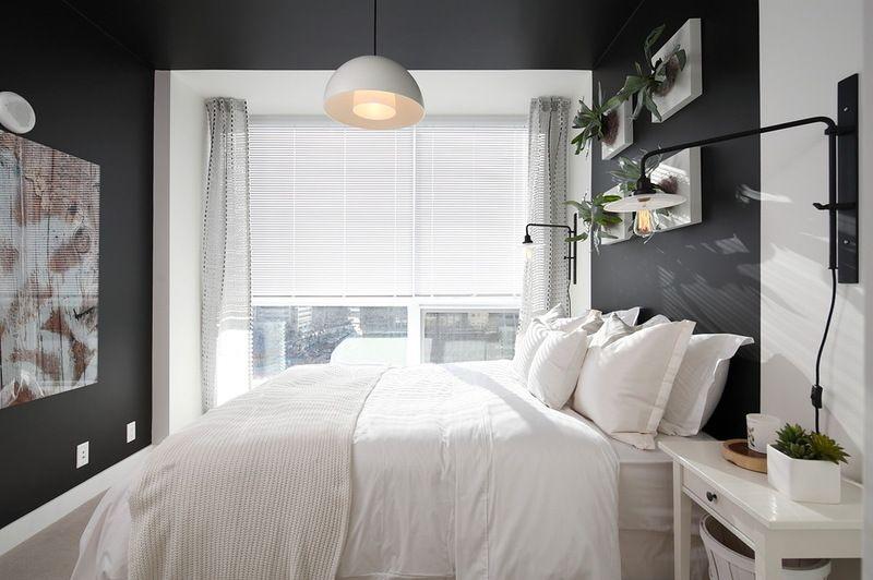 black and white bedromm