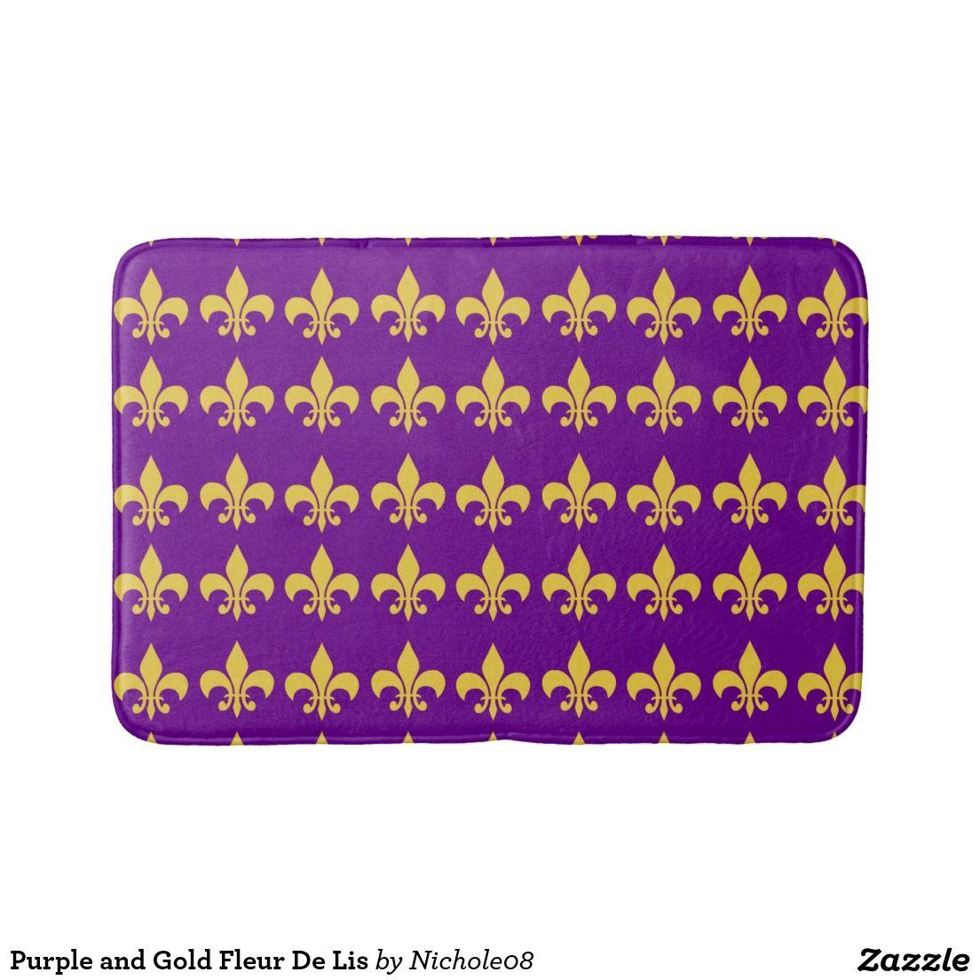 Purple And Gold Fleur De Lis Bath Mat Purple Fleur De Lis Bath Mat