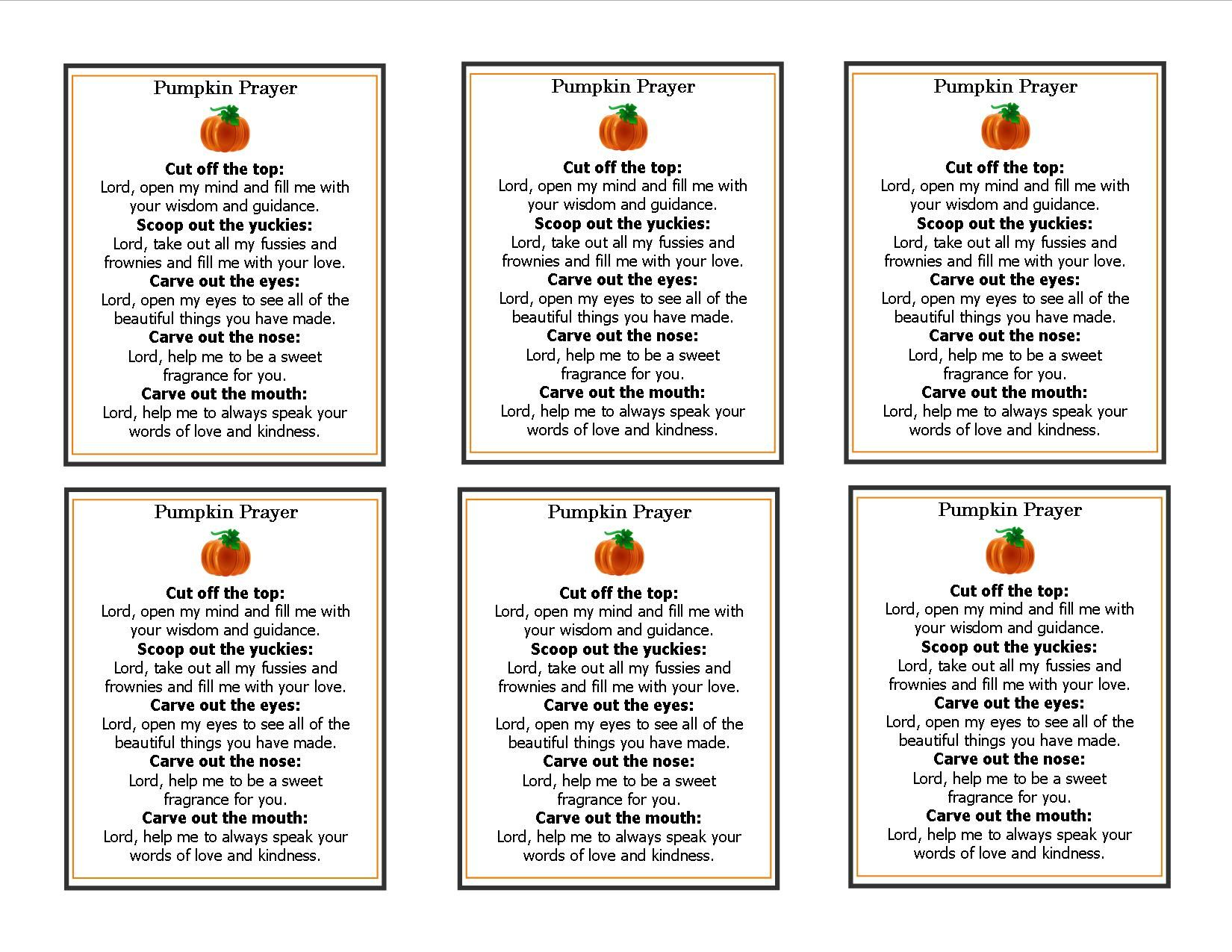Pumpkin Prayer Template Perfect For The Inside Of A Halloween Card And A Great Alternative