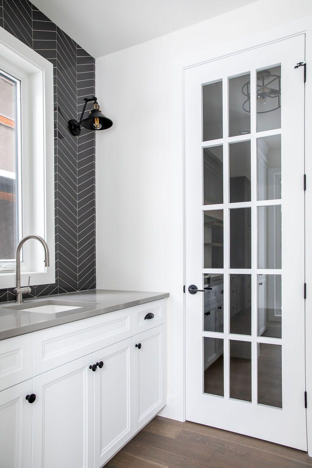 Best Black Chevron Backsplash White Cabinets And Light Grey 400 x 300