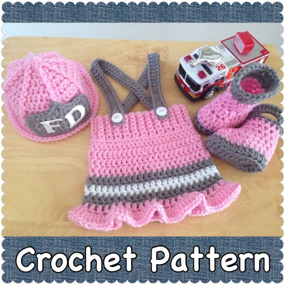 Crochet Pattern 3 Month Size Baby Fireman Firefighter Hat Skirt And