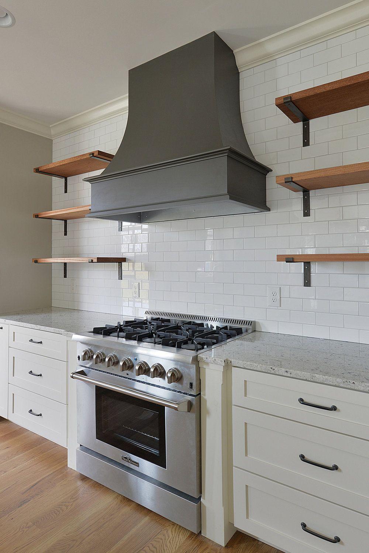 White Kitchen Thor Range Open Shelving Sherwin Williams