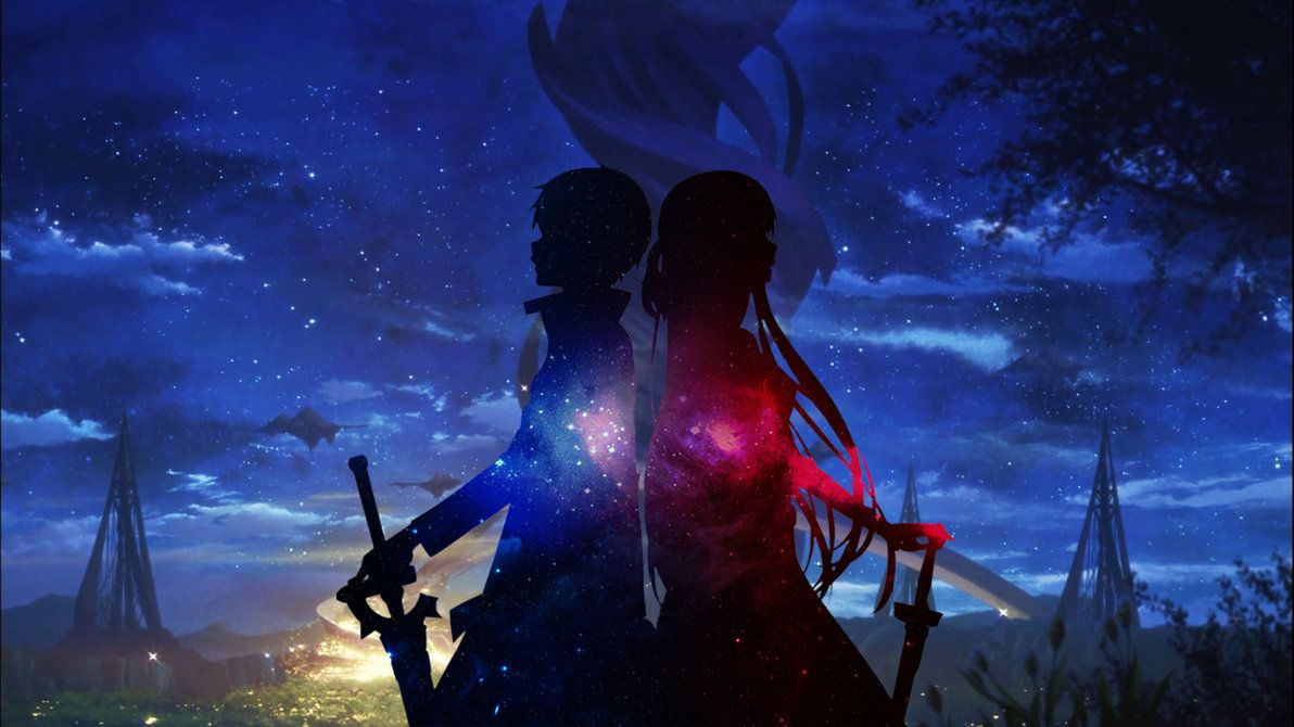 Kirito and Asuna Starry Night by NijuugoSan on deviantART