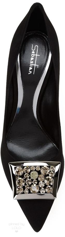 Rosamaria g Frangini | ShoeAddict | SEBASTIAN MILANO Embellished Stiletto Pump | via Lolo