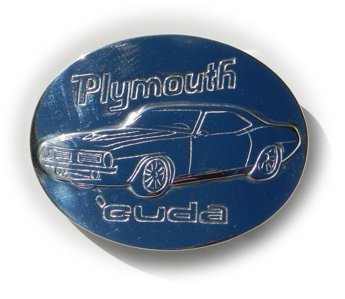 Custom Order - Hand made in solid sterling silver. Plymouth 'Cuda buckle from a customers photo of their vehicle.