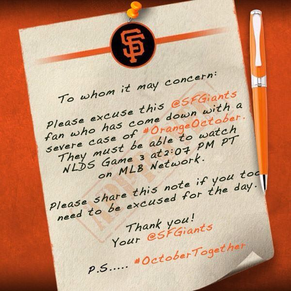 A Legit Enough Doctors Note To Me  San Francisco Giants