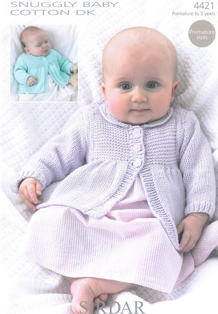 Knitted baby cardigans in Sirdar Snuggly Babycotton Dk   sacos bebes ...