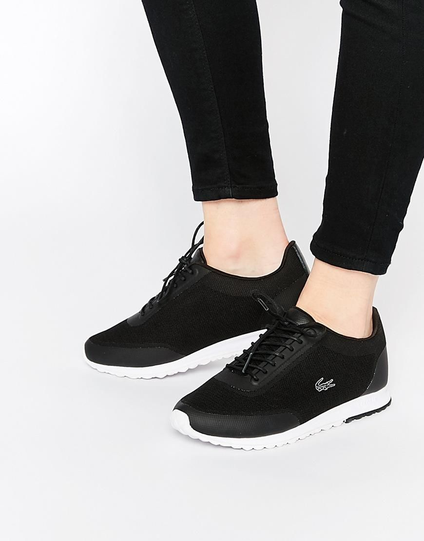 quality design e2ff3 82b9a Lacoste   Lacoste Helaine Runner 3 Black Trainers at ASOS Tenis Lacoste  Mujer, Zapatillas Lacoste