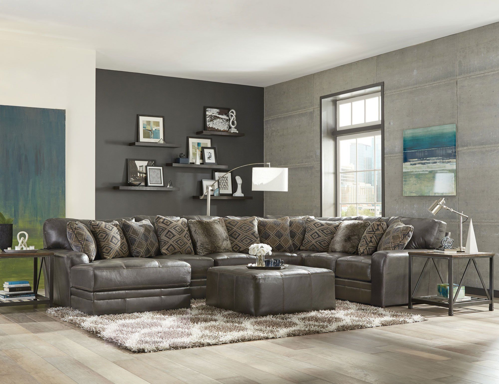 Steel Gray 5 Piece Sectional Sofa With Laf Chaise Denali