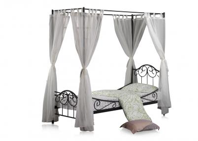Romantisch hemelbed \'Colonial\' | Zwart frame met wit - transparante ...
