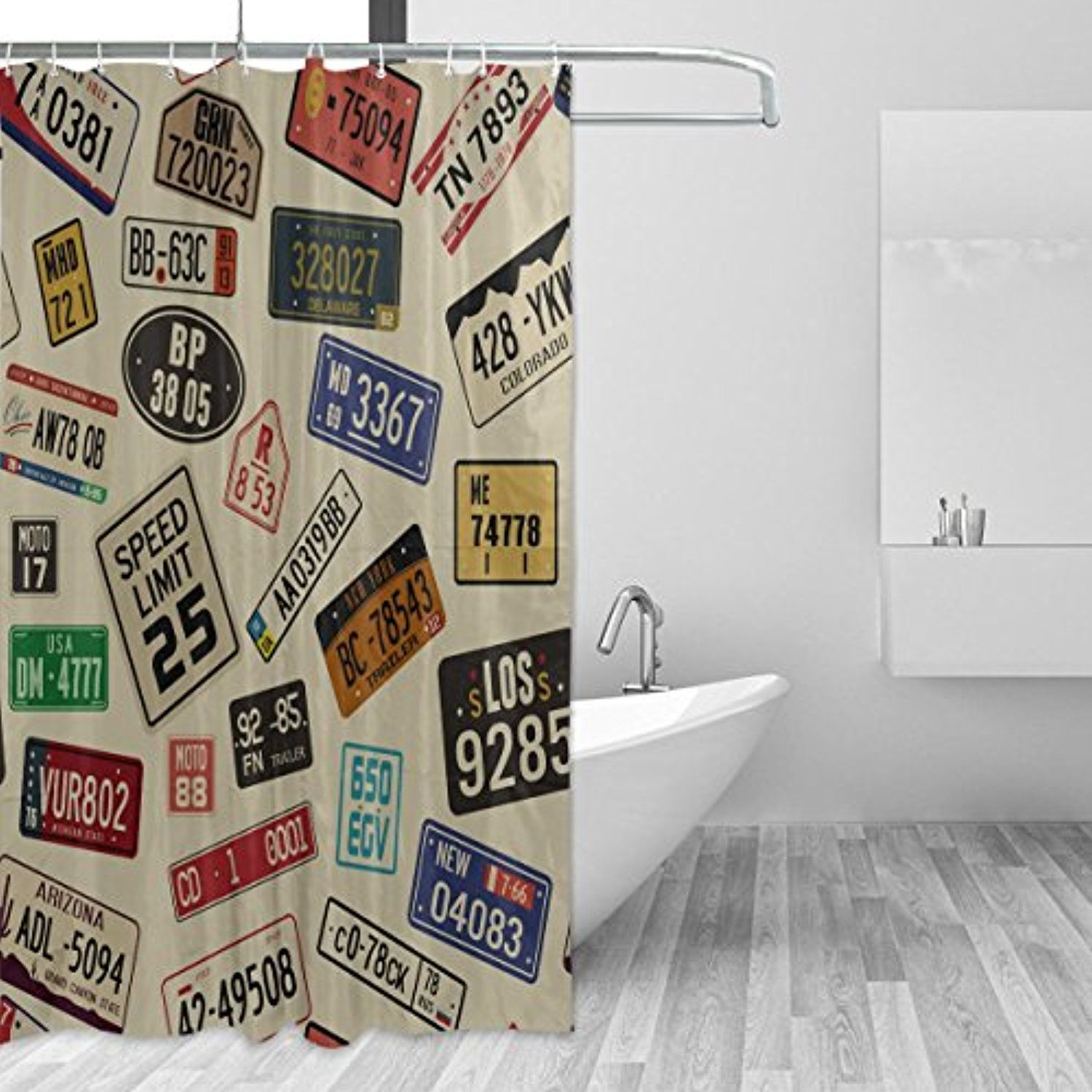 WellLee Old Time Car Number License Plates Shower Curtain Waterproof Fabric Fashion Custom Bathroom Decor 66