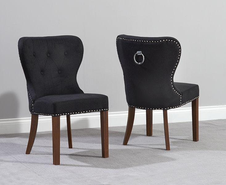 knightsbridge black fabric dark oak leg dining chairs | fantastic