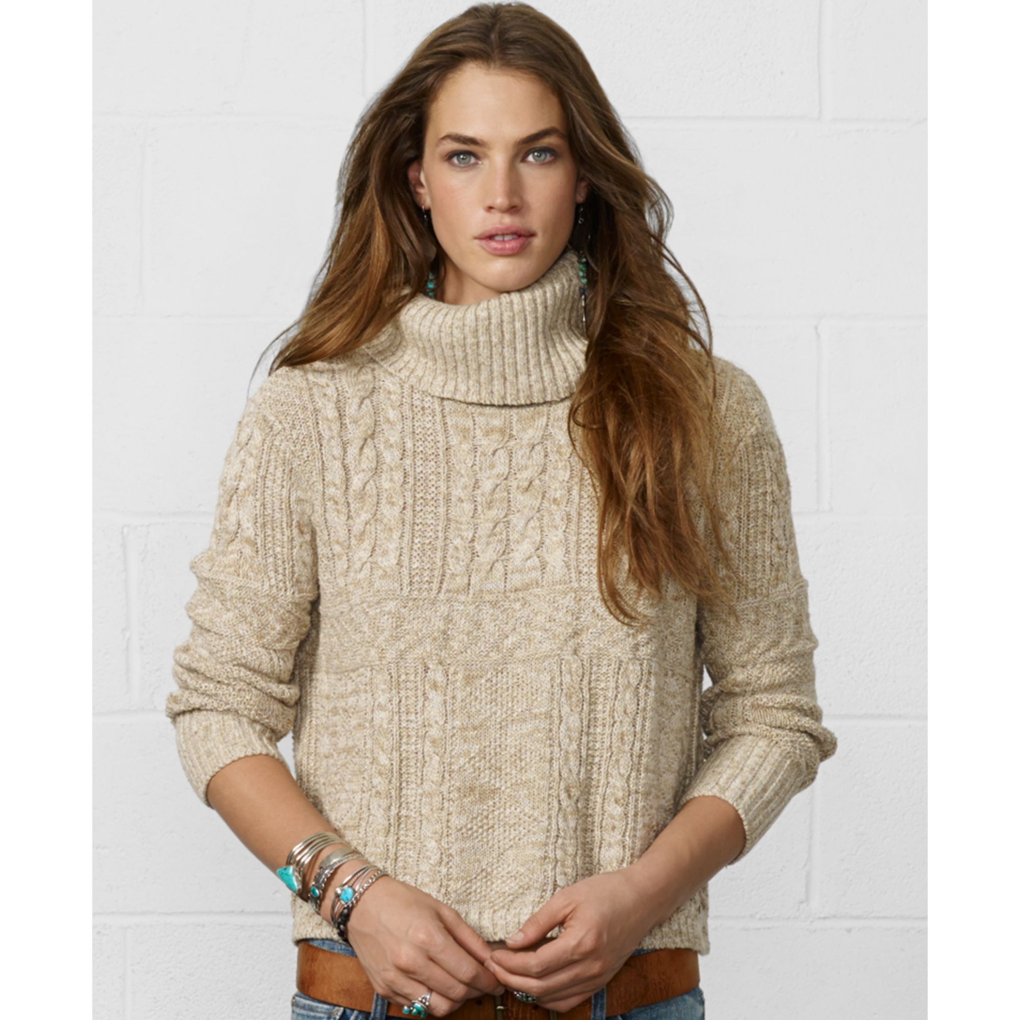Denim & supply ralph lauren Cropped Cableknit Turtleneck Sweater in Beige (Natural)