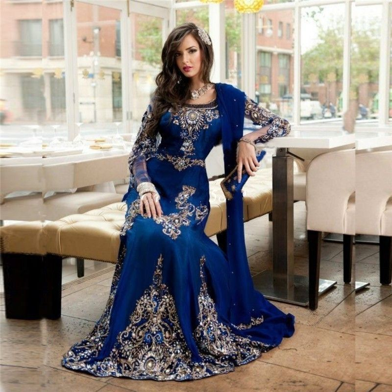 Aliexpress.com : Buy Chiffon Dubai Winter Formal Dress Royal Blue ...