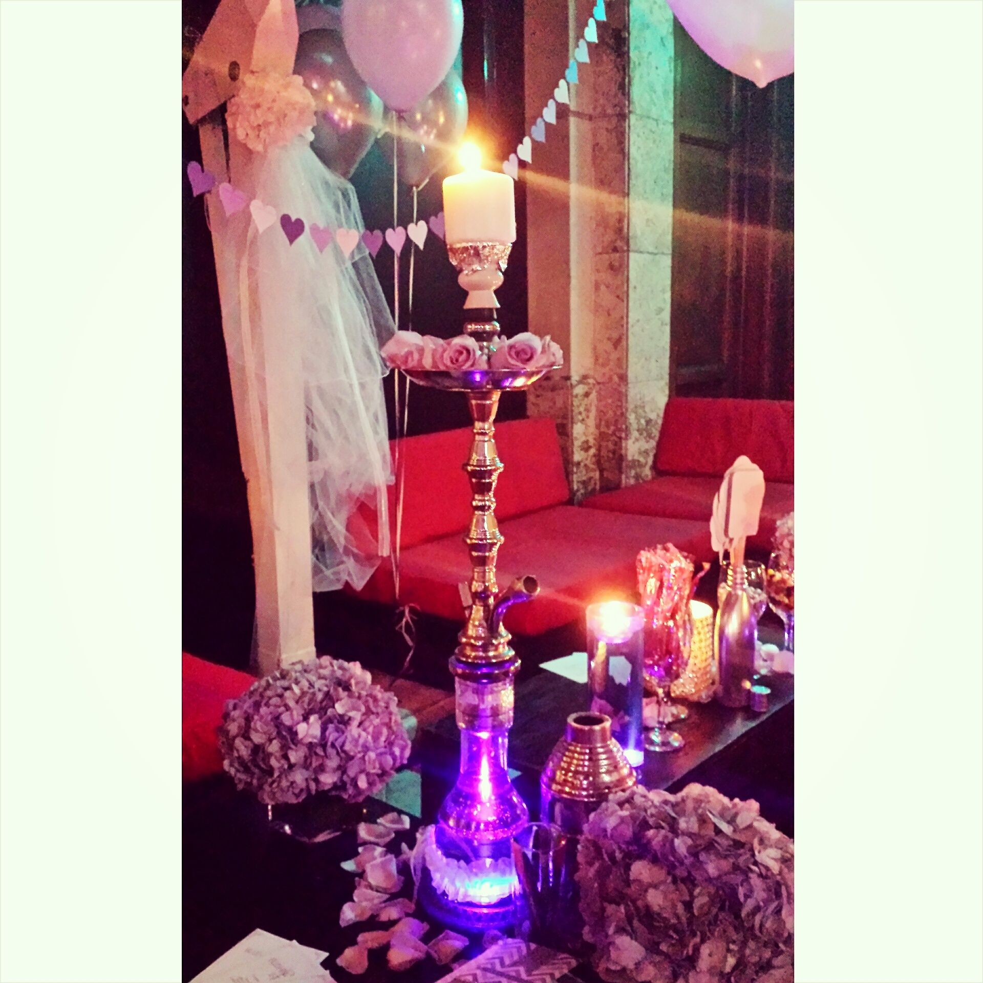 Hookah Party Centerpiece With Roses Candle Purple Water Purple Underwater Led Light At Sawa Sweet Sixteen Centerpieces Underwater Led Lights Bridal Shower