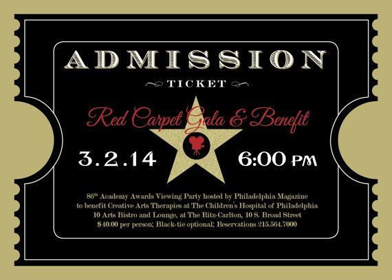 Printable - Academy Awards - Oscars - Hollywood Party - Event - prom tickets design