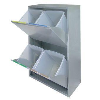Mueble basic para recogida selectiva 4 residuos recogida - Cubos para reciclar ...