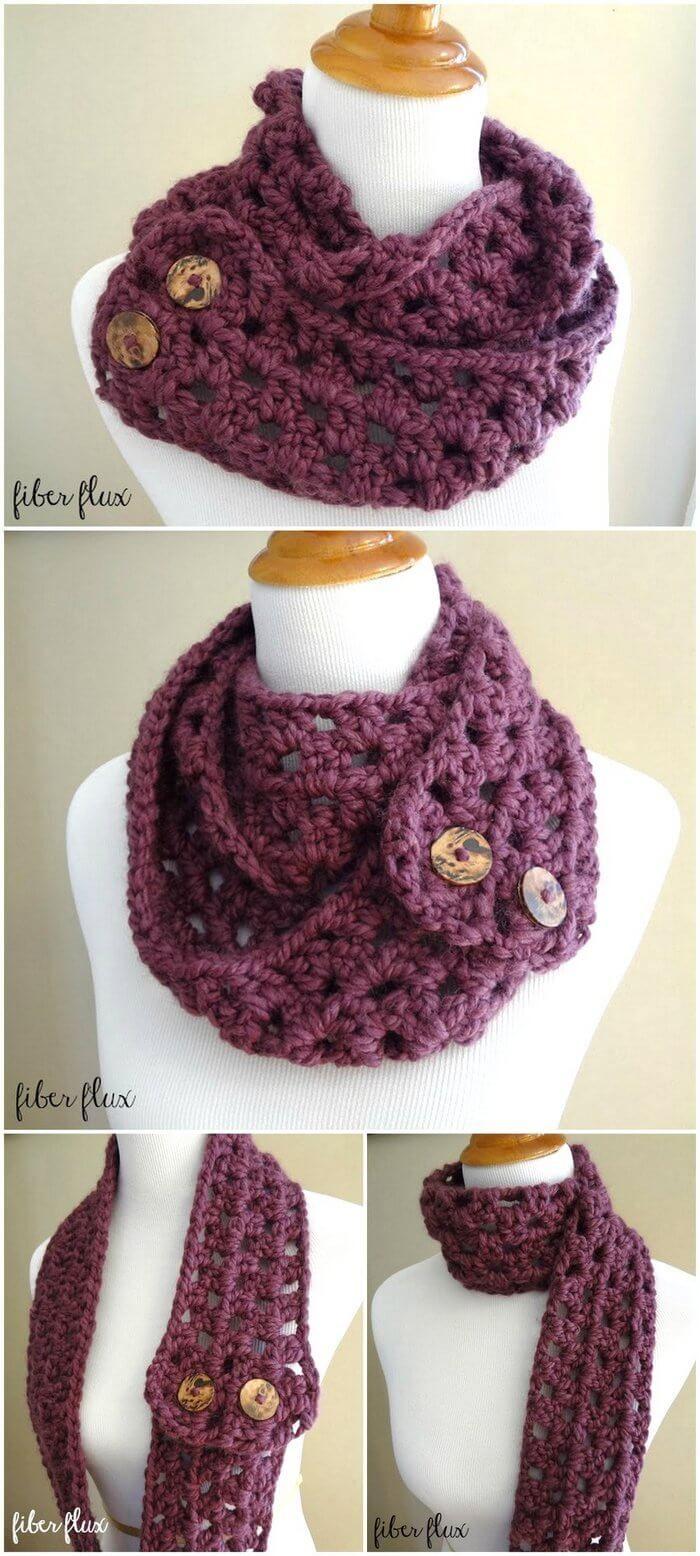 Fiona Button Scarf, Free Crochet Pattern #crochet # ...
