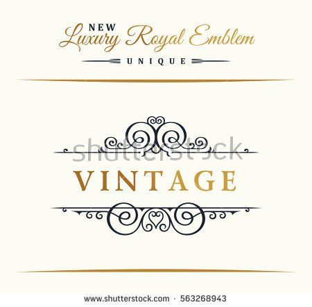 Calligraphic luxury line logo flourishes gold frame emblem emblem monogram royal vintage design black symbol decor for menu card invitation label restaurant cafe hotel vector border illustration stopboris Choice Image