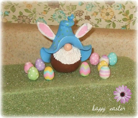 Happy Easter Miniature Bunny Gnome Figurine by RockTheMitten