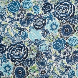 Make a statement with this vintage inspired copenhagen/baby blue floral cotton voile print. Of a lighter weight, this combed cotton voile with its 60s thread count, is suitable for Spring/Summer dresses, skirts, blouses, children's wear, and curtains. For those who aren't familiar with the 60s term, it refers to the thread count of the fabric resulting in a delicate drape and soft hand. This woven cotton voile is slightly translucent and may require a lining depending on the application.