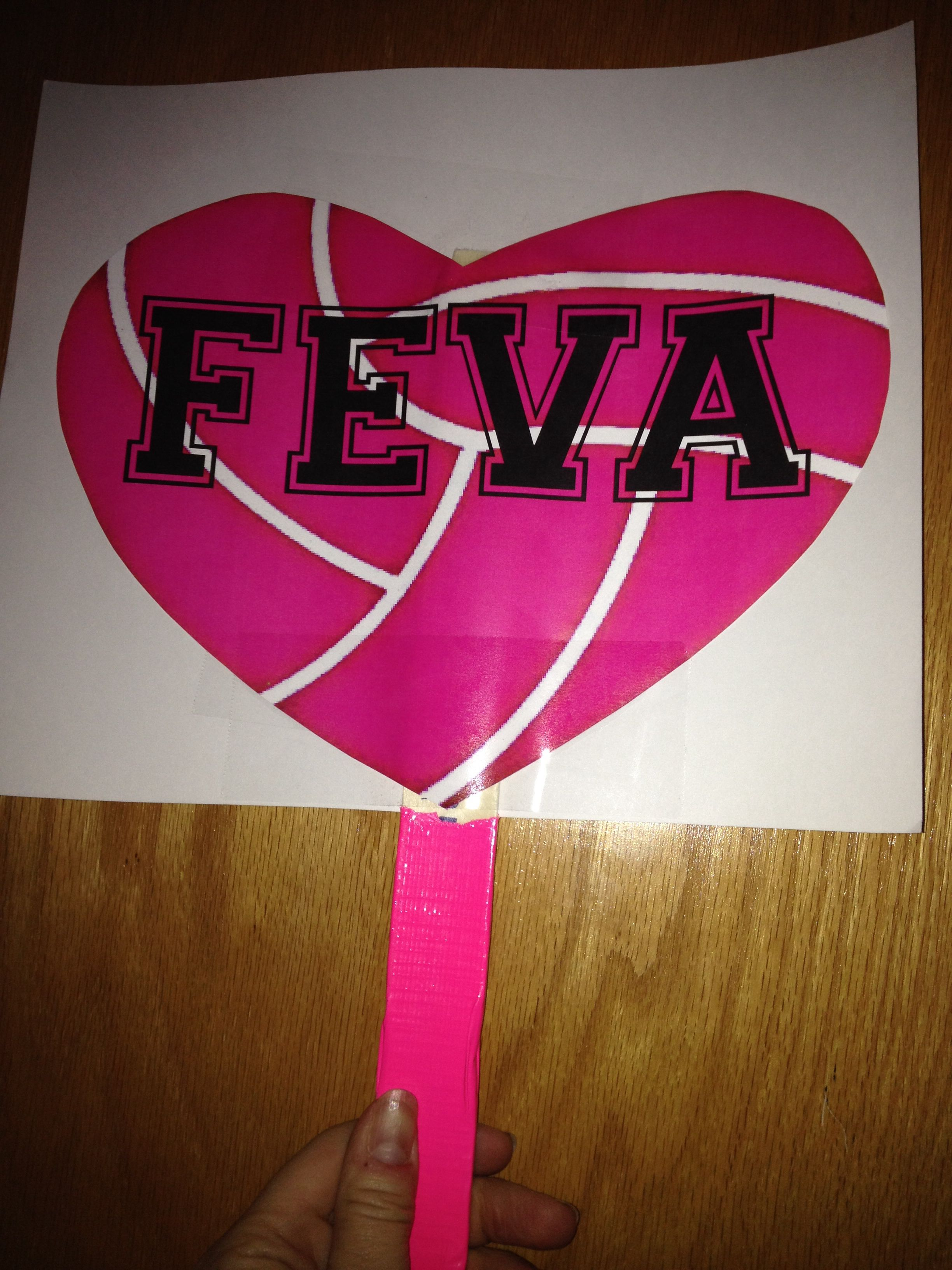 Cheer Signs For The Crowd To Encourage Players Poster Board Printed Out Pink Volleyballs Paint Sticks Covere Cheer Signs Volleyball Signs Volleyball Posters