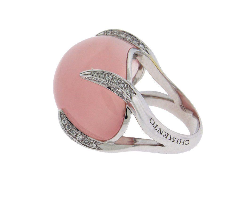 Chimento Elsir pave diamond & rose quartz ring in 18k white gold ...