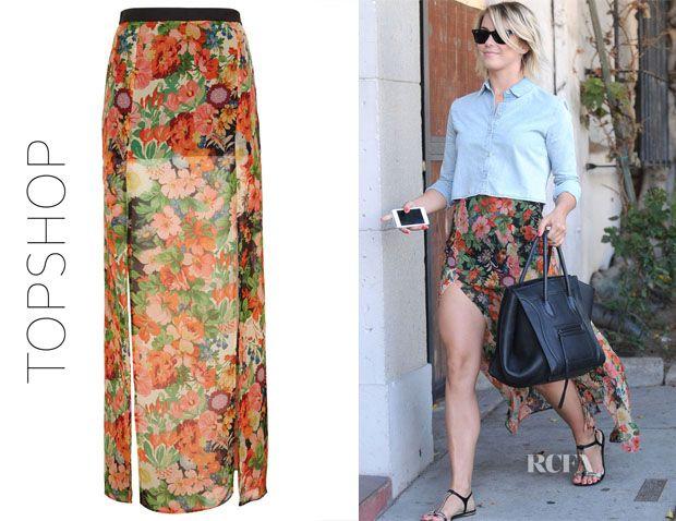 Julianne Hough's Topshop Double Slit Floral Maxi Skirt. i louve ...