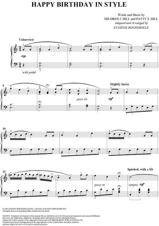 Happy Birthday In Style Sheet Music By Mildred J Hill Pianos