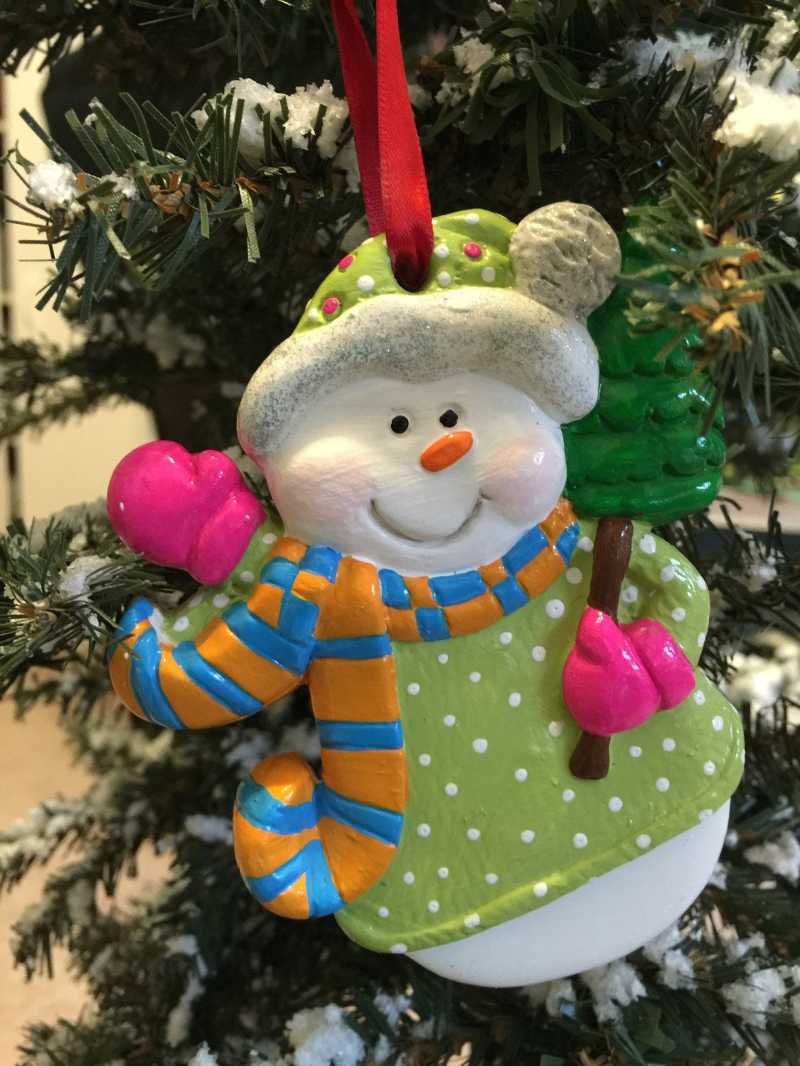 Hand Painted Ceramic Snowman Ornament. Bright, Whimsical Colors ...